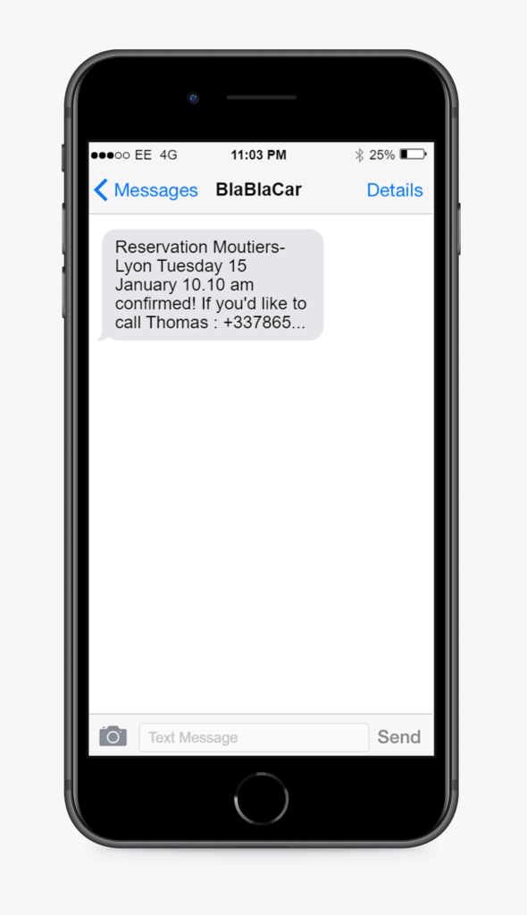 SMS example from blablacar