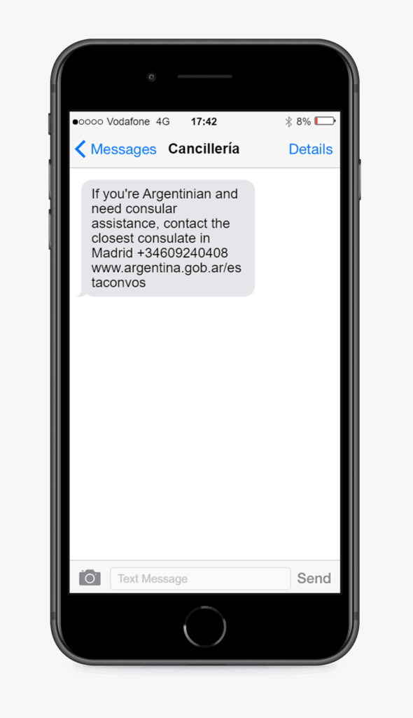 text message example from cancilleria argentina